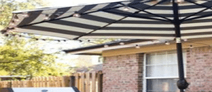 Customer Chelsea added lights to here stripped umbrella