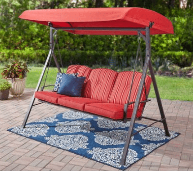 Mainstays Forest Hills red 3 person outdoor swing with canopy