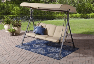 Mainstays Forest Hills tan 3 person outdoor swing with canopy