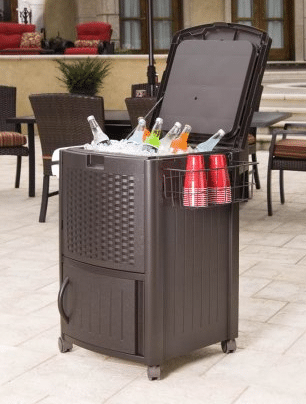 Suncast resin wicker cooler cabinet for patio