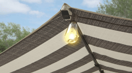 Better Homes and Gardens Cabana stripped umbrella Velcro for lights