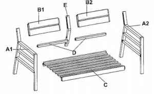Cane Bay bench parts for assembly