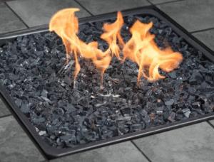 Gas fire pit burn area
