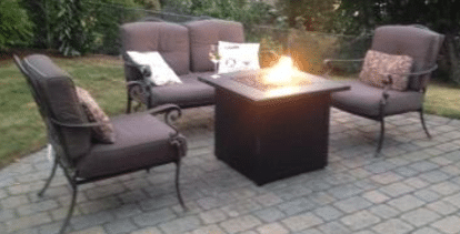 Hiland Gas Fire Pit with Cover Hammered Bronze