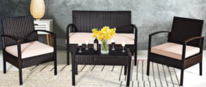 Goplus dark brown wicker