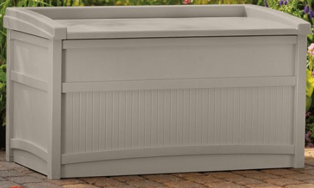 Suncast 50 Gallon outdoor deck storage with bench