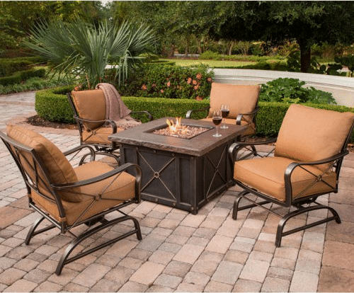 Hanover Summer Night 5-Piece Gas Fire Pit Set