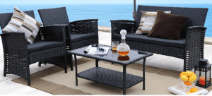 Outdoor Conversation Sets-Baner Garden black conversation set