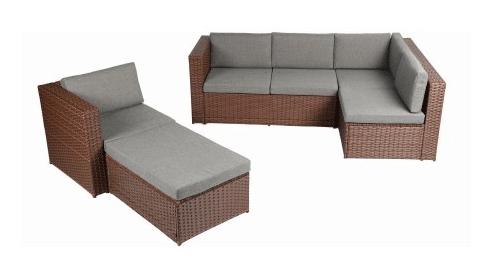 Baner Garden brown sofa with full skirt