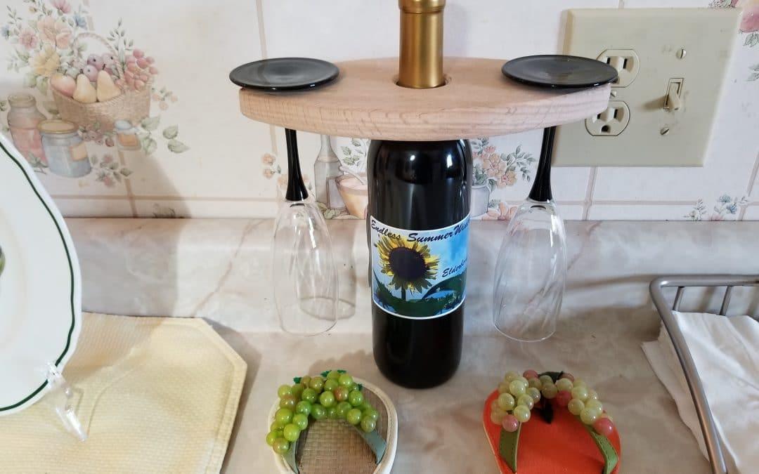 Oak wood table top wine rack