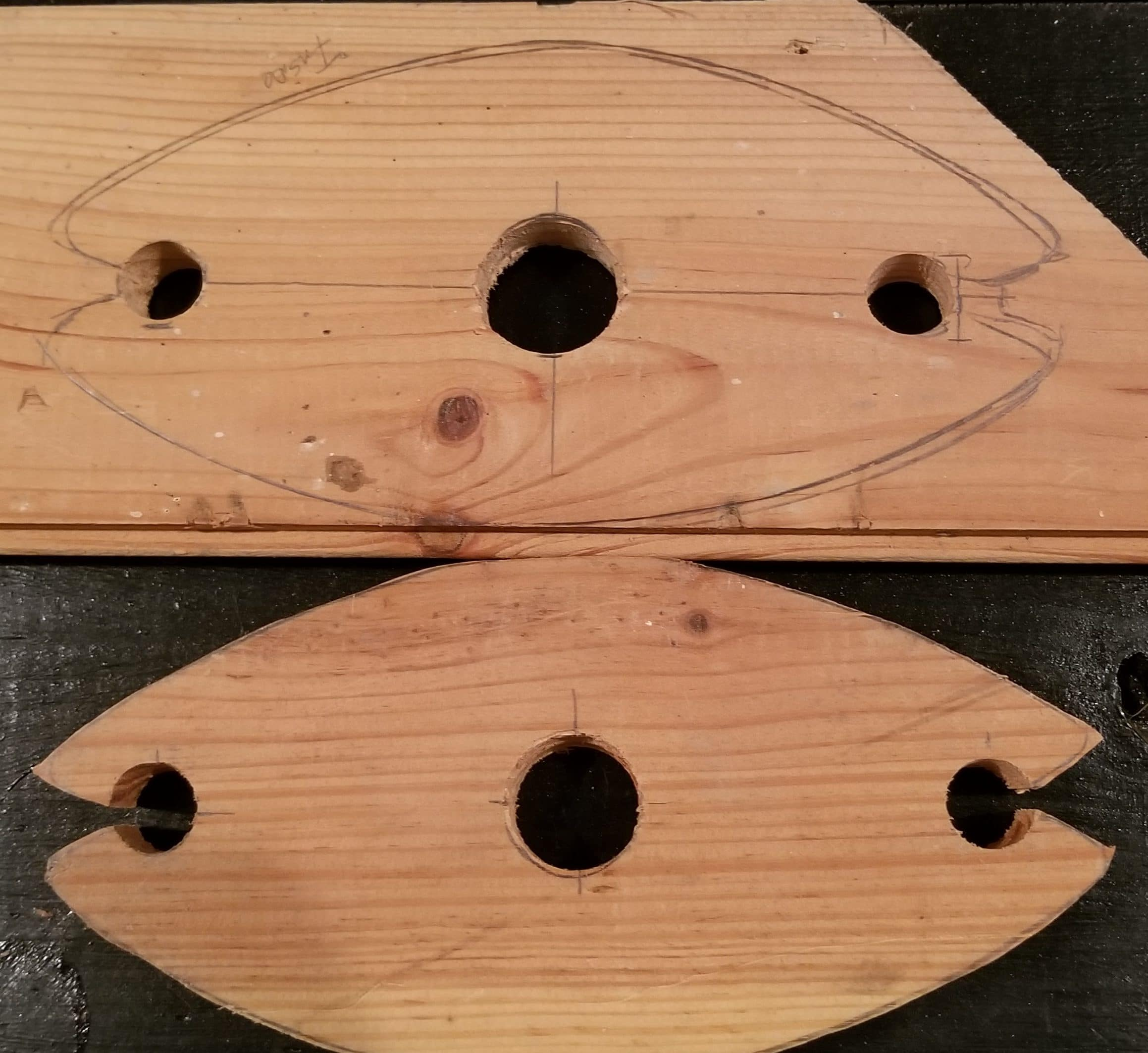 Tabletop Wine Rack with holes and rough outline cutout