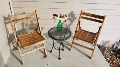 Bistro set with wine rack