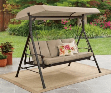 3 Person Futon Patio Swing-Beldon Park with tan cushions and with back up for seating