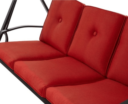 3 Person Futon Patio Swing-Beldon Park Seat with back up and red cushions