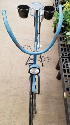 Front view of garden bike with solar light