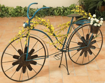 Bicycle planter with solar light