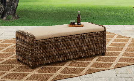 Resin Wicker Outdoor Furniture-Hawthorne Park Bench with storage