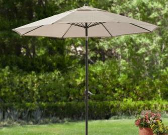 Mainstays Forest Hills 8 foot patio umbrella tan