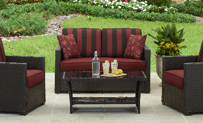 Two Rush Valley resin wicker patio sets