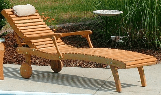 Appilachian Oak Wood Outdoor Chaise Lounge Chairs With Cushion