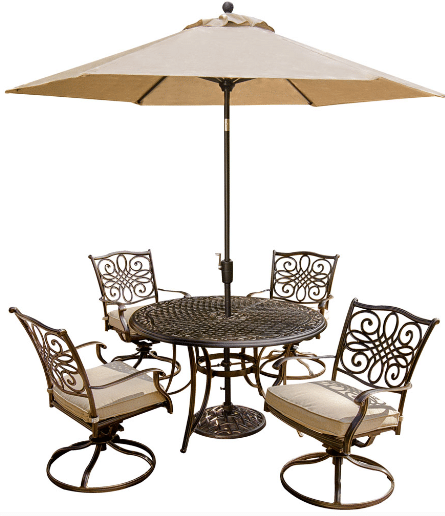 Hanover Traditions patio dining set with 4 chairs and umbrella