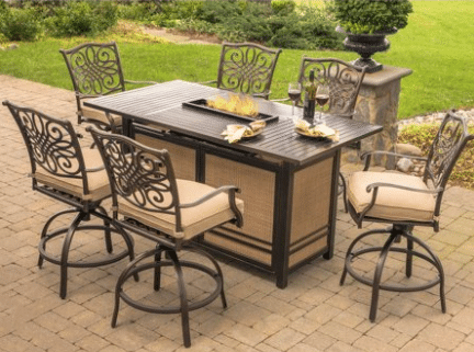 Hanover Traditions bar height fire pit with six chairs