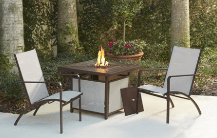 Living Stone Lake gas fire pit set for 2