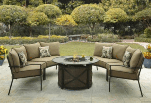 Ridgewell sectional patio fire pit set