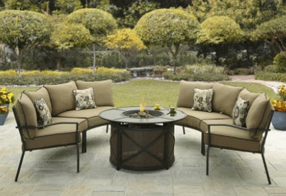 Ridgewell sectional patio furniture with fire pit sets
