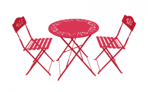 Folding Red Metal Bistro set