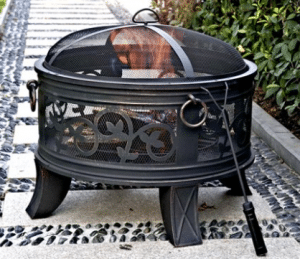 Wood Burning Patio Fire Pits-Granada round steel fire pit