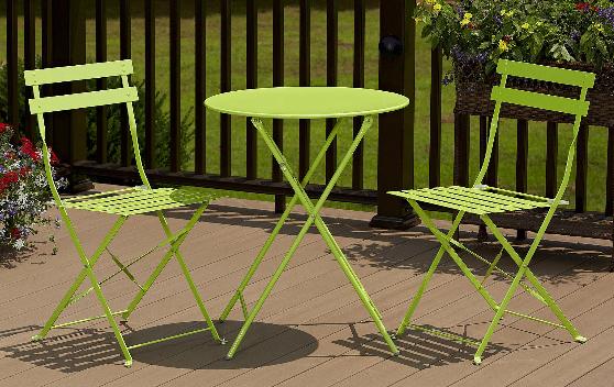 Cosco folding patio bistro set green