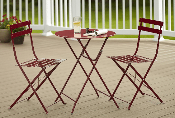 Cosco folding bistro set red