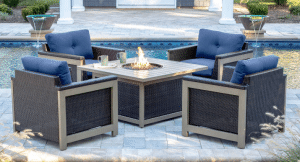 Hanover Montana Patio Chat Set with Fire Pit Table