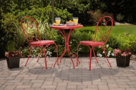 Mainstays Scroll bistro set painted in a bright red