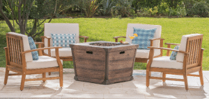 Best Patio Furniture Sets in Teak with Gas Fire Pit