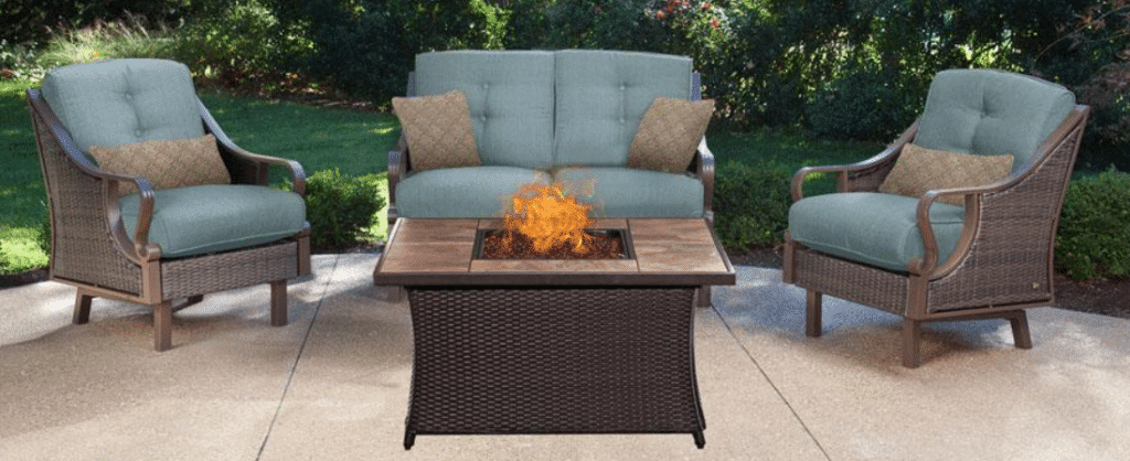 Hanover Ventura fire pit conversation patio set