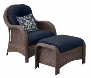 Newport resin wicker chair with ottoman