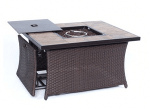 Newport resin wicker gas fire pit