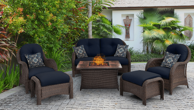Newport patio furniture set with a fire pit