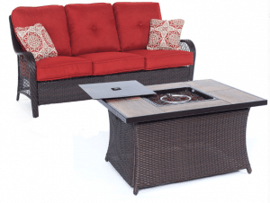 Orleans 3 seat love seat with gas fire pit