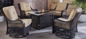 Orleans 5 piece chat set with 30,000 BTU gas fire pit