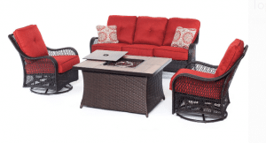 Orleans conversation set with gas fire pit
