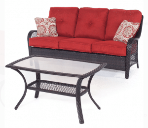 Orleans love seat with glass top coffee table
