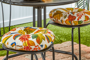 Round flowered patio cushions