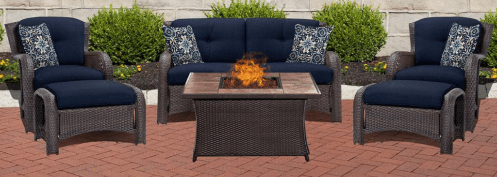 Strathmere conversation set with gas fire pit