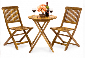 Teak Patio Outdoor Furniture-Teak folding bistro set