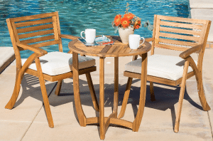 Teak Patio Outdoor Furniture-Teak straight leg bistro set