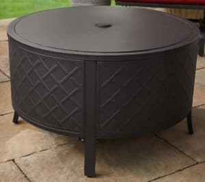 Brockton fire pit with cover installed