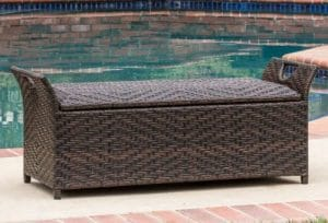 Outdoor Storage Furniture-Danica resin wicker storage bench